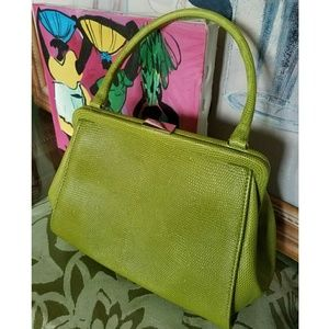BR Lime Green Embossed Mini Satchel 100% Leather